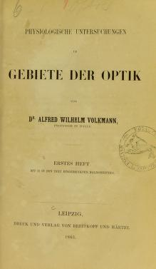 Cover of: Physiologische Untersuchungen im Gebiete der Optik by Alfred Wilhelm Volkmann